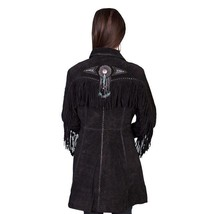 QASTAN Women's New Black Fringe / Beaded Suede Cow Leather Long Coat WWJ15A image 2