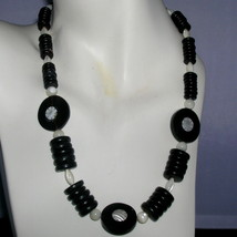 Vintage Inlaid Mother of Pearl Buffalo Horn MOP Black Coco Bead Necklace - $89.10