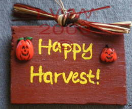 Happy Harvest! Wood Halloween Sign Handmade NEW - $4.99
