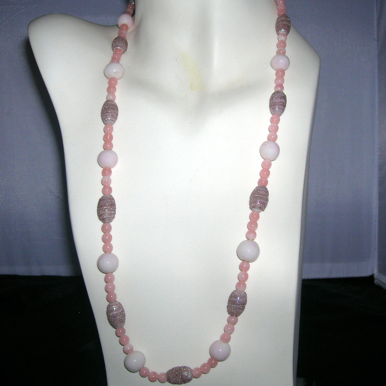 Vintage Venetian Lampwork Art Glass AB Lilac & Pink Sugar Bead Necklace 29""
