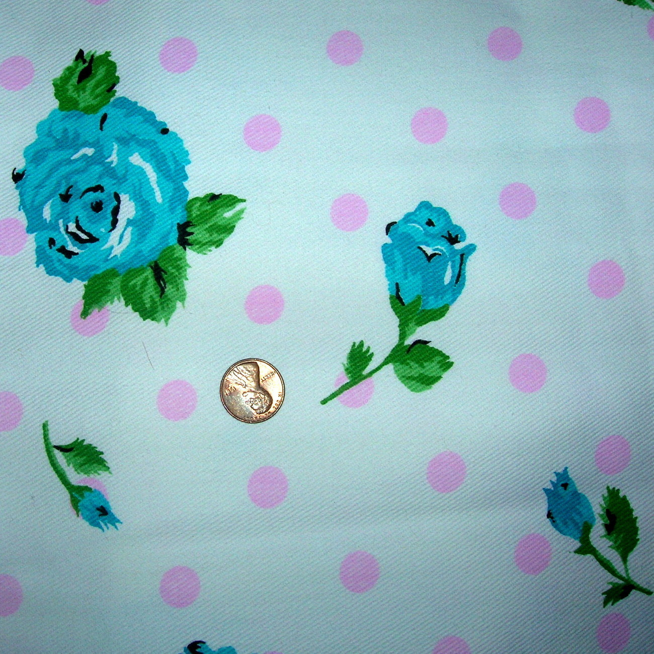 Vintage White Floral Polka Dot Cotton Denim Jean Fabric Rose Decorator Fabric