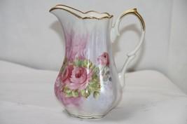 Shabby Chic Pitcher Pink Roses Floral Jug Godinger & Co. Porcelain  - $35.00