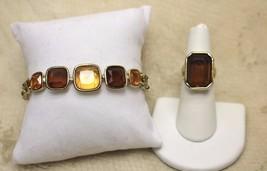 Vintage 14kt GE ESPO Topaz Amber Glass Bracelet Ring Demi Set - $24.74