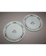 2 Dinner Plates Pfaltzgraff Snow Village Christmas Snowman Farm Green Ring - $10.84