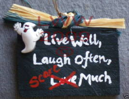 Live Well Laugh Often Scare Much Halloween Sign NEW - €4,25 EUR