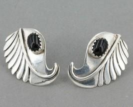 "Native American Sterling Silver Black Onyx Leaf Earrings Signed NW 5/8"" ... - £13.11 GBP"