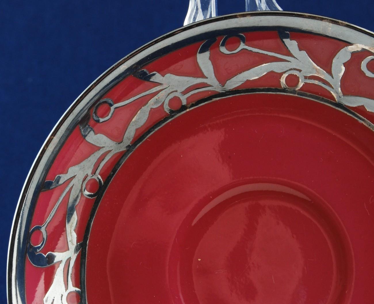 Heinrich Christine Demitasse Cup & Saucer Silver Overlay H&C Bavaria US Zone