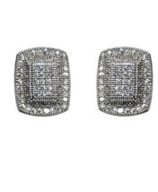MICRO- Pave Square Clear Cubic Zirconia Stud Earrings 13MM - $34.64