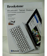 Brookstone Tablet Keyboard Station Bluetooth Foldable Click Keys White NEW! - $31.44