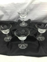 "Fostoria Etched ""Rose"" Pattern Tall Stemware Sherbets Glasses 4z - $17.75"