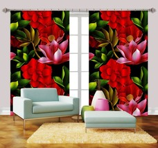 3D Red Flowers Plant 056 Blockout Photo Curtain Print Curtains Drapes US... - $177.64+
