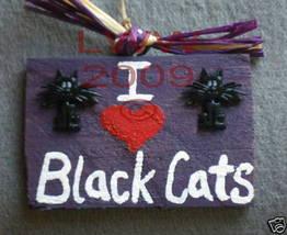 I Love Black Cats Wood Halloween Sign Handmade NEW - £3.59 GBP