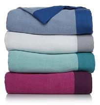 Concierge Collection Elements 100% Cotton Color-Block Hem Blanket,Twin (... - $34.64
