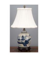 "Small Blue & White Porcelain Jar Lamp White Shade 18"" - $145.00"