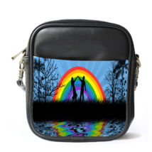 Sling Bag Leather Shoulder Bag Romantic Couple Lover In Beautiful Rainbow Lake - $14.00