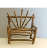 "Vintage Primitive Twig  Doll Bear Two Seat Chair Settee 5 x 7 x 2"" Hand ... - $15.00"