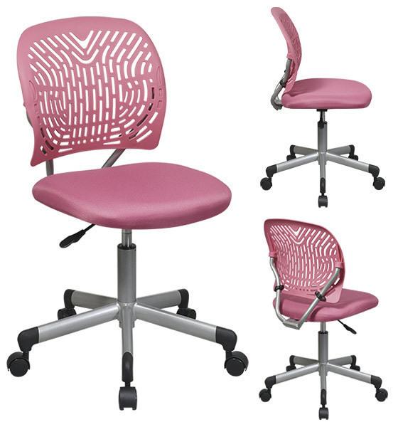Pink Designer Desk Task Office Swivel Chair Fabric Seat