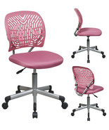 PINK Designer Desk Task Office Swivel Chair - Fabric Seat Plastic Back w... - $92.00