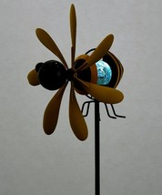 "35"" Bee Wind Spinning Solar Double Pronged Garden Stake Black Yellow image 2"