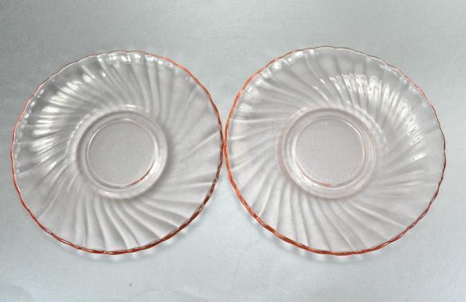 2 Arcoroc France Rosaline Pink Swirl Saucers