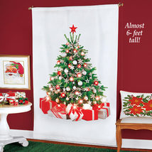 winston inc Green Christmas Tree Gifts LED Lights White Curtain Panel Decor - $49.99