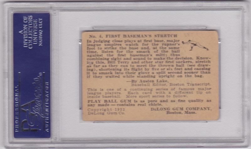 Bill Terry 1933 DeLong #4 Baseball Card PSA 3 VG