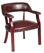 Oxblood Burgundy Vinyl Traditional Visitor Wrap Back Guest Chair w/ Padd... - $93.99