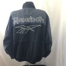 Reebok Vintage 90's Mens Gray and Black Zip Front Spellout Windbreaker L... - $49.49