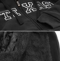 Men's Texas Embroidered Sherpa Lined Warm Zip Up Fleece Hoodie Sweater Jacket image 7