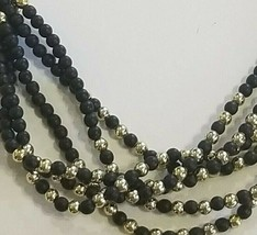 Black & Gold Beaded Necklace Strands Costume Jewelry Retro Vintage - $11.25