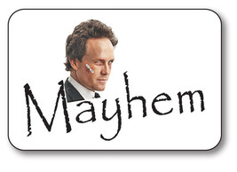 MAYHEM FROM ALLSTATE COMMERCIAL NAME BADGE HALLOWEEN COSTUME PROP PIN BACK - $13.16