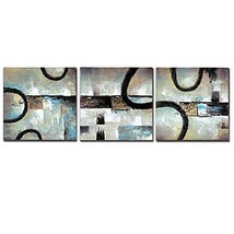 3Hdeko - Abstract Black Strips Gray Beige Hand Painted Oil Painting Wall... - $72.44