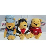 Disney Plush Winnie The Pooh Stuffed Animal Set Of 3 Choo Choo Pilot Hol... - $19.39
