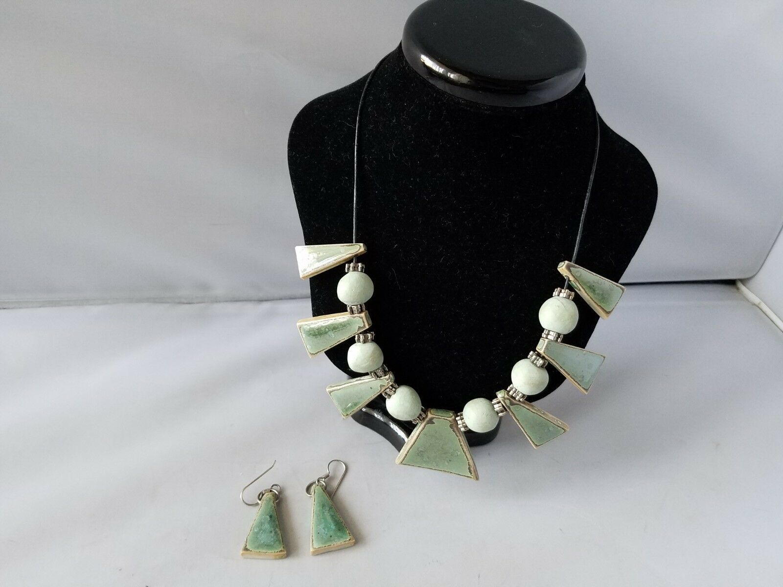 Vintage Fashion Necklace Earrings Set Glazed Pottery Bead Blue Green On Cord