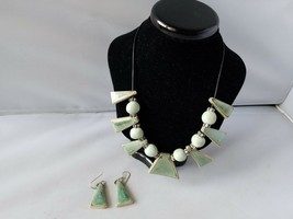 Vintage Fashion Necklace Earrings Set Glazed Pottery Bead Blue Green On ... - $27.89