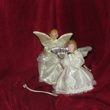 vintage ANGEL tree ornaments w/LED light white satin gowns 5' TALL - $5.00