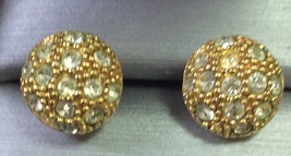 Vintage Women Gold Tone Post Earrings with Rhinestones, Avon Signed.  - $4.95