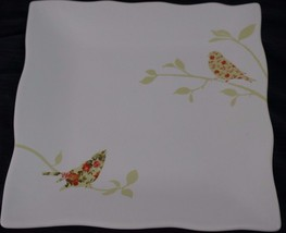 222 Fifth Chintz Birds Square Salad Plate Wavy ... - $10.00