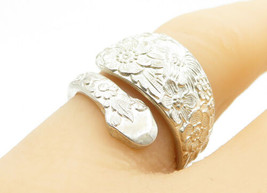 ALVIN 925 Silver - Vintage Ornate Floral Spoon Wrap Band Ring Sz 6 - R12813 - $33.22