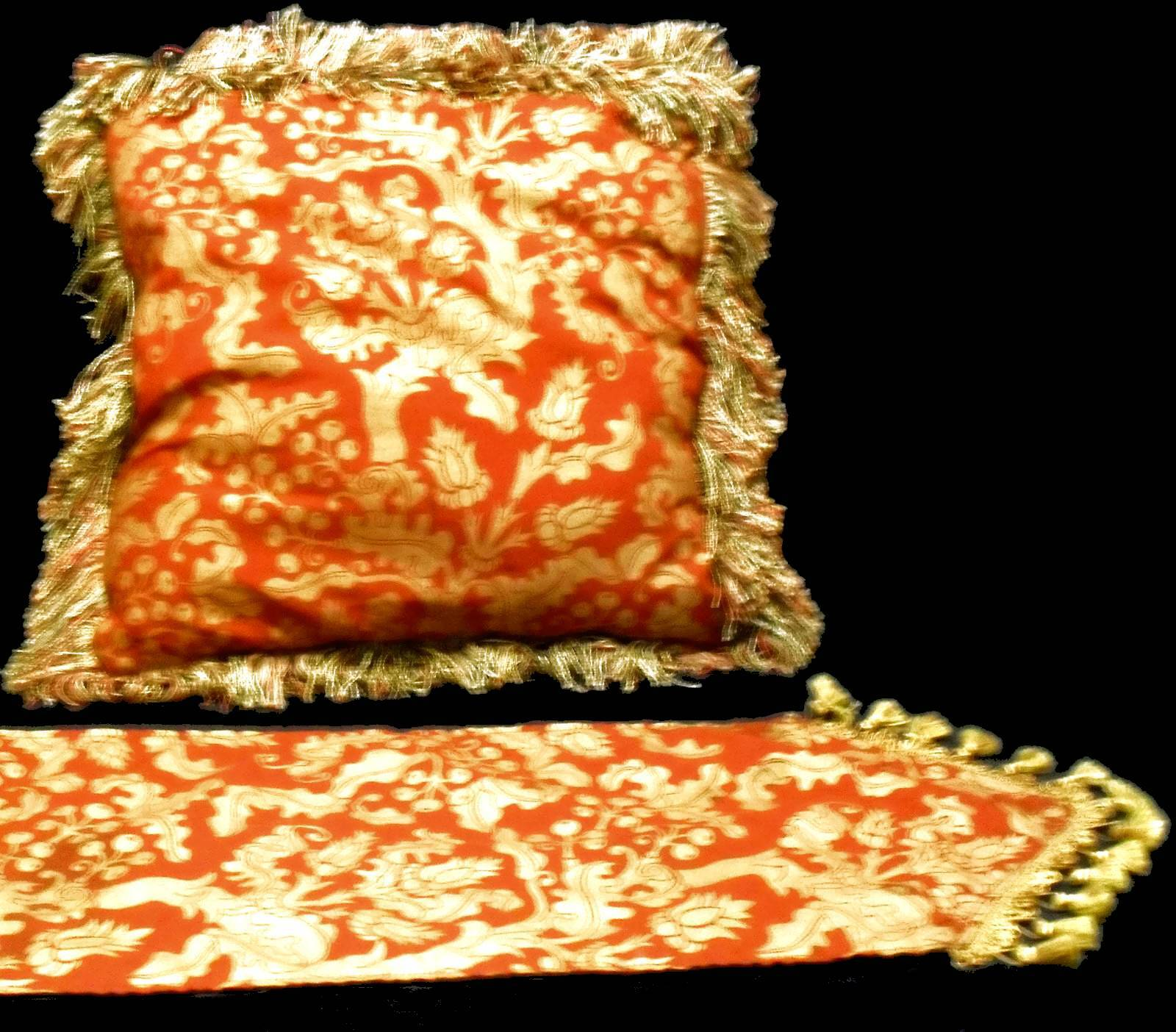 Pillows Set 4 Vintage Red & Gold Holly Fabric w/Runner Holiday Decor