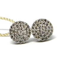 White Gold Earrings 750 18k, Diamonds Carat 0.50, Button, round, Pave 8 Mm image 1