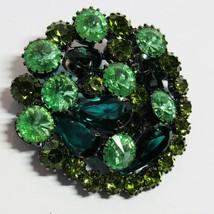 Vintage Costume Jewelry 1950s BROOCH Olivine Green Rhinestone Black Japp... - $36.61