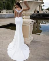 New Sexy Sleeveless Illusion Open Back Princess Mermaid Trumpet Wedding Dress image 3
