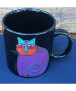 Laurel Burch Mythical Cat Black Purple, Turquoise, Red, Gold Mug - $9.49