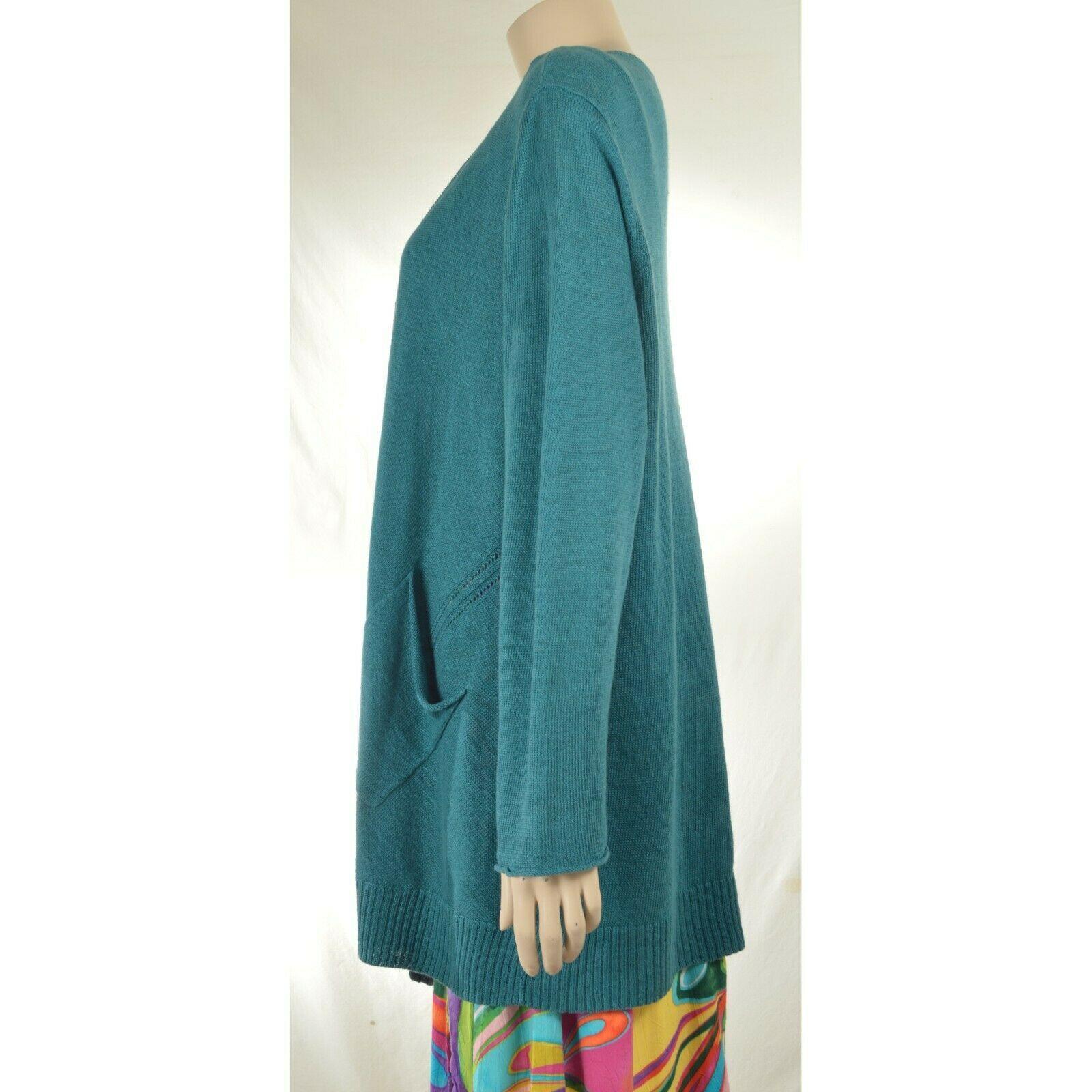 Eileen Fisher sweater cardigan SZ L teal 100% linen knit pockets soft long s image 11