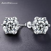 Fashion Sample Pure Sterling Silver Stud Earrings Cubic Zirconia Jewelry Women L - $13.90