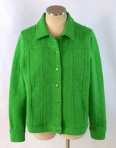 ISAAC MIZRAHI LIVE Kelly Green Heavey Jersey Knit Lightweight Jacket Wom... - $18.80