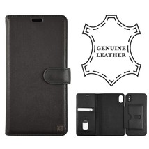 London Genuine Leather Case for Apple iPhone Xs Max - Black  Folio Wallet 2 In 1 - $21.49