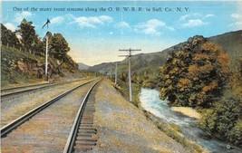 Railroad Track Trout Stream O & W RR Sullivan County New York postcard - $6.39