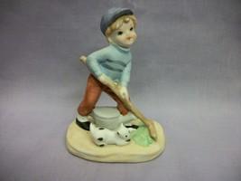 Homco Gardening Boy Porcelain Figurine with playful Kitten - $5.52
